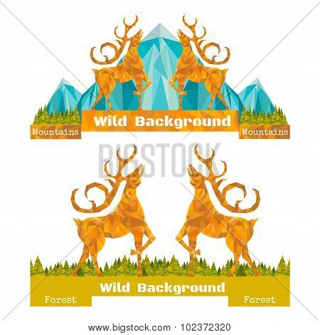 two banner crumpled paper background with deer opposing and forest and mountines on horizont