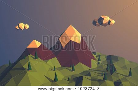 Low poly mountains landscape vector background. Polygonal shapes peaks with snow on top and trees ar
