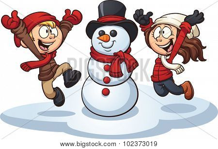 Cartoon kids building a snowman. Vector clip art illustration with simple gradients. Each element on a separate layer.