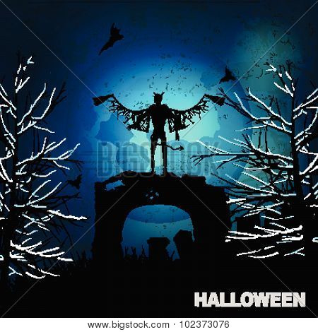 Halloween Grunge Background With Evil Angel And Moon