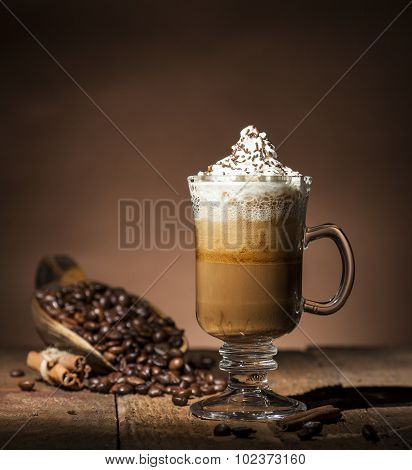 Glass Cup With Coffee Beans