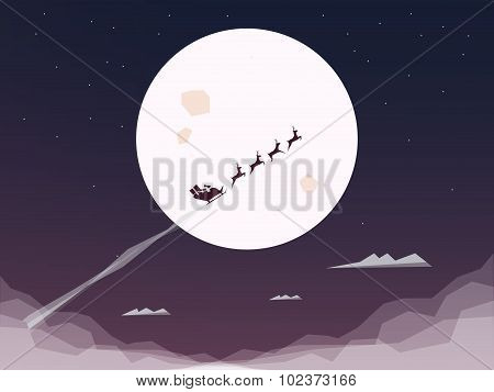 Santa riding sleigh in full moon. Flying silhouette, night sky. Christmas card vector background.