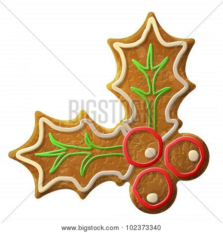 Gingerbread Holly Berry Symbol Decorated Colored Icing