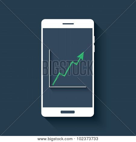 Mobile chart infographics element. Smartphone with graphs. Business report diagram. Green line graph