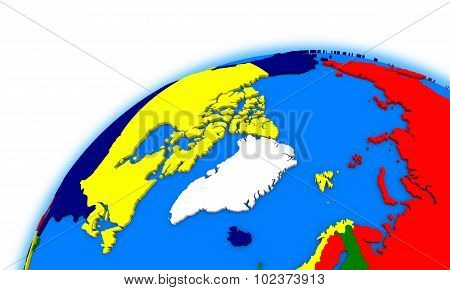 Arctic North Polar Region On Globe Political Map