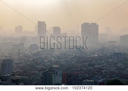 Aerial view of Hanoi skyline cityscape
