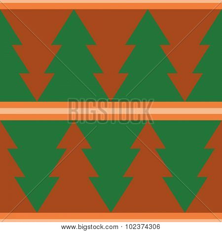 Retro seamless background with christmas tree pattern