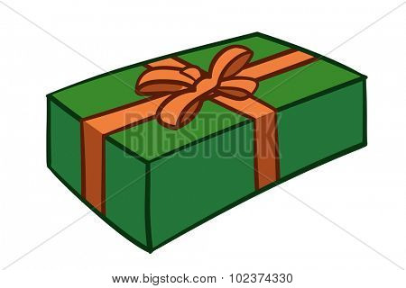 Cartoon green gift box