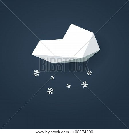 Low poly weather icon. Forecast symbol in modern 3d design. Winter snowing sign for cold season.