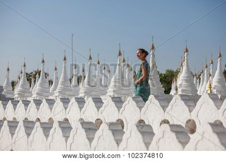 The White Pagoda Of Hsinbyume Paya Temple,