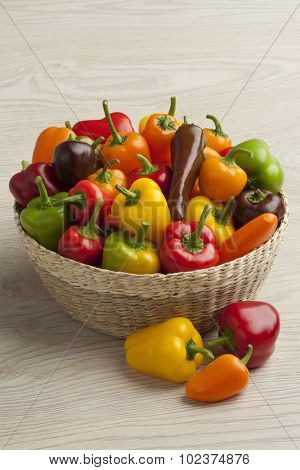 Basket filled with colorful vine sweet mini peppers