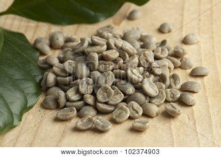 Heap of Pamwamba green unroasted coffee beans