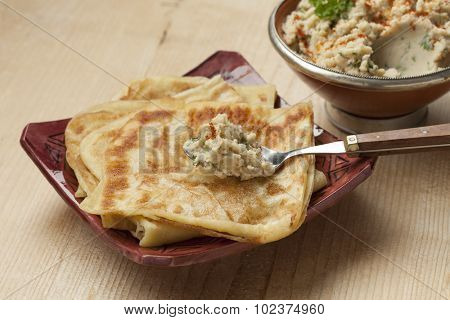 Msemen with a spoonful  moroccan bessara