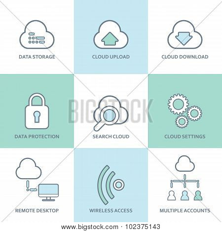 Cloud computing line icons set. Flat design elements. Database, communication technology, hosting se