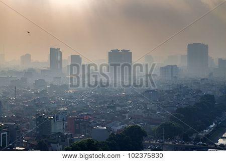 Aerial view of Hanoi skyline cityscape in fog