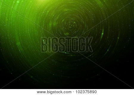 Green Abstract Science Fiction Futuristic Background, Blurred Radiant Stars In Space