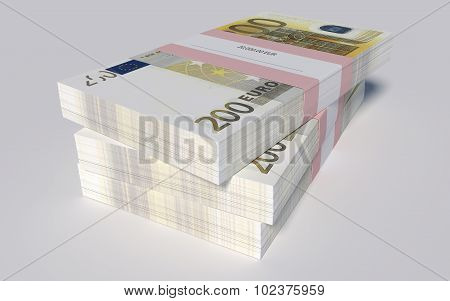 Three packets of 200 Euro bills