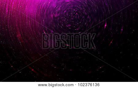Purple Abstract Science Fiction Futuristic Background, Blurred Stars In Space