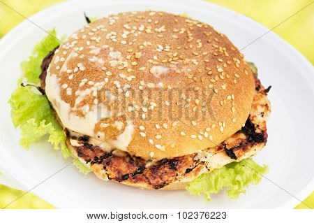 Grilled hamburger with bacon