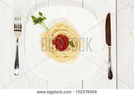 Pasta on the plate