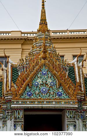 Thailand Asia   In     Roof Wat  Palaces     Sky      And        Mosaic