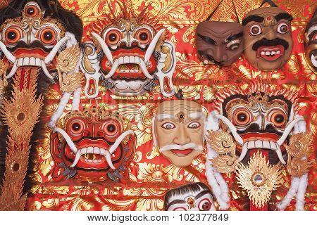 Traditional Balinese Rangda And Topeng Show Masks