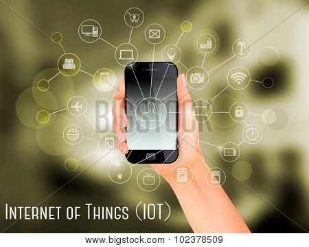 Hand, holding a smartphone, revealing a net of wireless controlled devices. Vector.