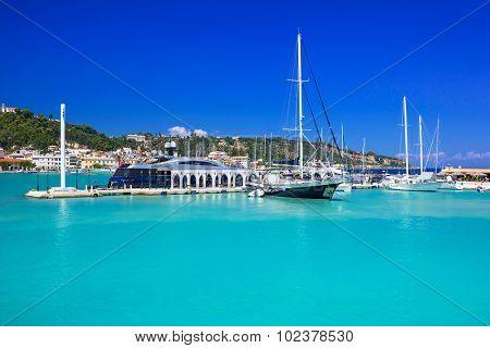 Marina with boats on the bay of Zakynthos, Greece