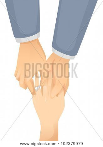 Illustration of a Gay Man Putting an Engagement Ring on His Partner's Finger