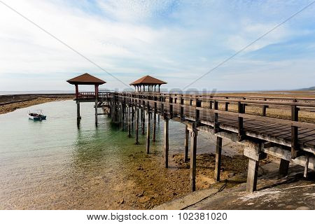 Indonesian Landscape With Walkway And Sea