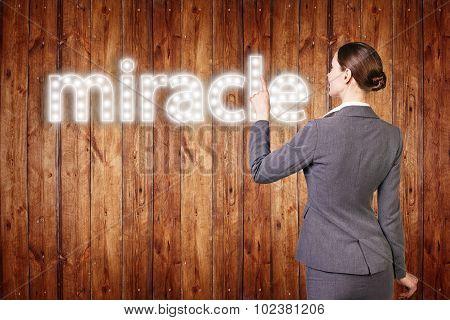 businesswoman touching singboard word