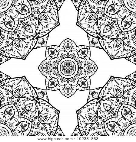 Ornate Pattern Of Round Mandalas.