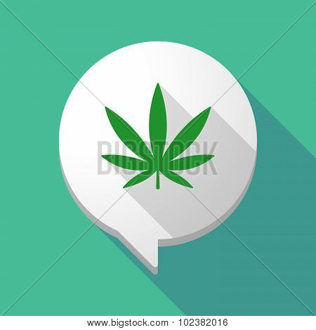 Long Shadow Comic Balloon With A Marijuana Leaf
