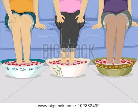 Illustration of a Group of Female Friends Having Foot Spa