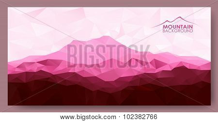 Triangle geometrical background with red mountains