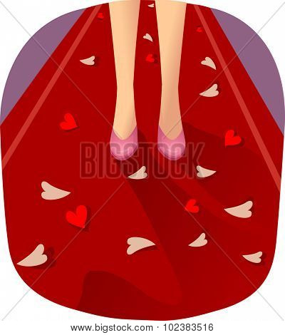 Illustration of a Girl Walking Down a Red Carpet Lined with Petals