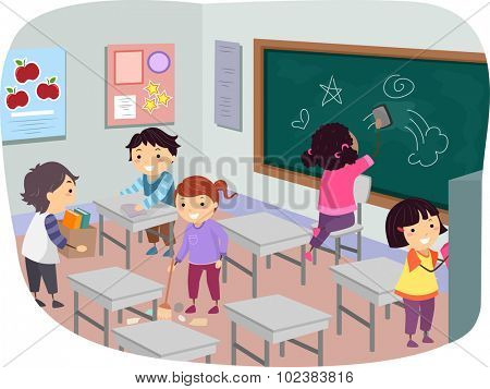Illustration of Stickman Kids Cleaning Their Classroom Together