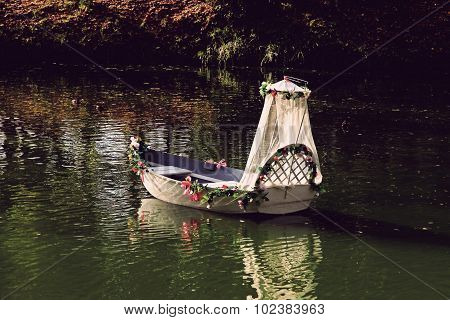 Vacant Wedding Boat On A River.