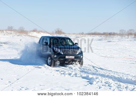 Khabarovsk, Russia - January 31, 2015: Toyota Land Cruiser Prado During Off Road Winter Sprint Race