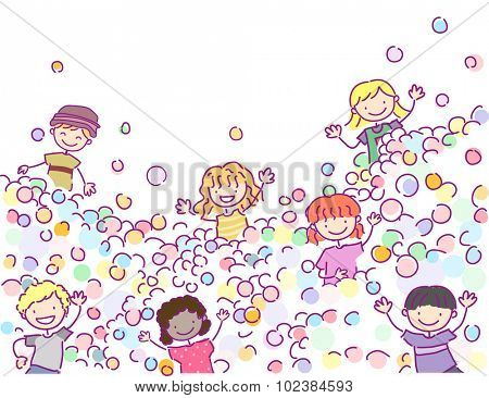 Doodle Illustration of Stickman Kids Playing in a Ball Pit