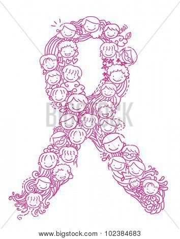 Stickman Illustration of Kids Forming an Awareness Ribbon