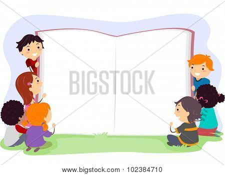 Stickman Illustration of Kids Opening a Giant Book