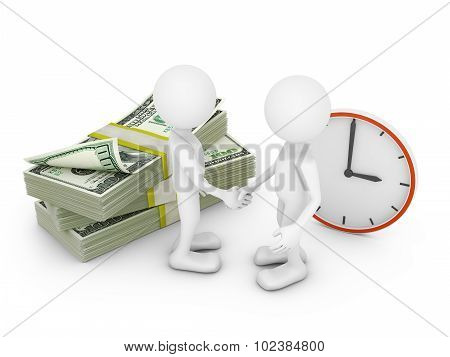 Two Man, Dollars And Clock