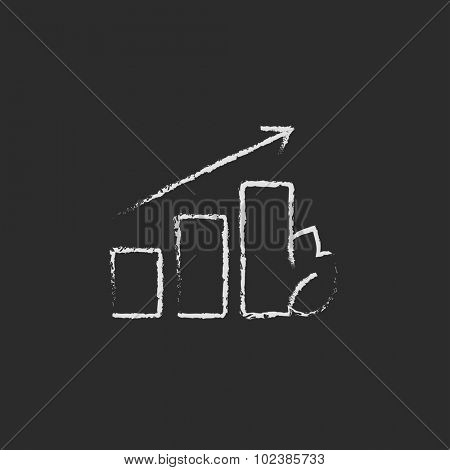 Bar graph with leaf hand drawn in chalk on a blackboard vector white icon isolated on a black background.