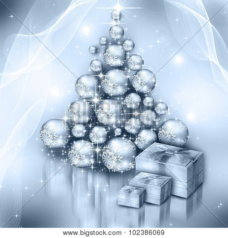 The best Christmas  silver  tree background
