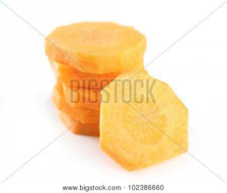 Sliced carrot isolated on white