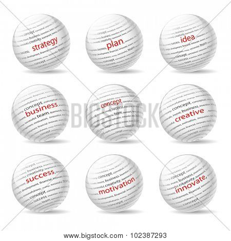 Balls on the Business theme, on white background. Illustration Vector EPS10