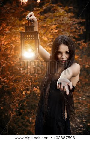 Beautiful Witch With The Magic Lantern Invites You Into The Forest.