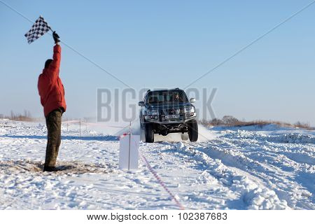 Khabarovsk, Russia - January 31, 2015: Nissan Patrol Finishing At Off Road Winter Sprint Race