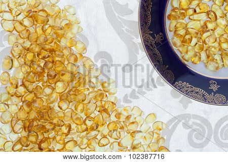 Dark Plate With Yellow Amber Stones